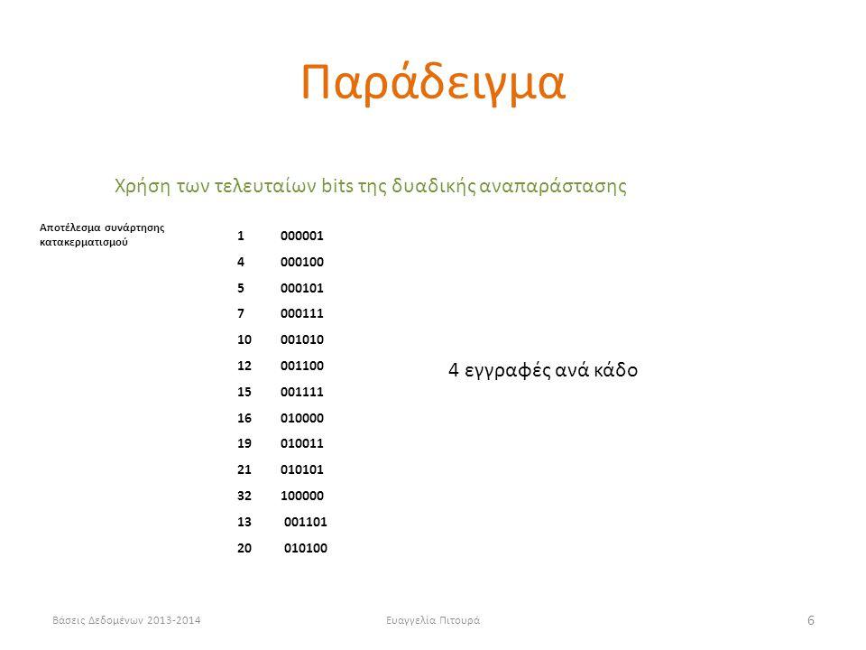 Βάσεις Δεδομένων 2013-2014Ευαγγελία Πιτουρά 6 Χρήση των τελευταίων bits της δυαδικής αναπαράστασης 1 000001 4 000100 5000101 7 000111 10 001010 12 001100 15001111 16010000 19010011 21010101 32 100000 13 001101 20 010100 4 εγγραφές ανά κάδο Αποτέλεσμα συνάρτησης κατακερματισμού Παράδειγμα