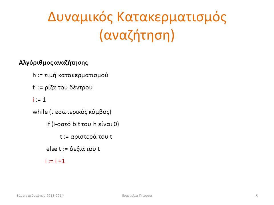 Βάσεις Δεδομένων 2013-2014Ευαγγελία Πιτουρά 8 Αλγόριθμος αναζήτησης h := τιμή κατακερματισμού t := ρίζα του δέντρου i := 1 while (t εσωτερικός κόμβος) if (i-οστό bit του h είναι 0) t := αριστερά του t else t := δεξιά του t i := i +1 Δυναμικός Κατακερματισμός (αναζήτηση)