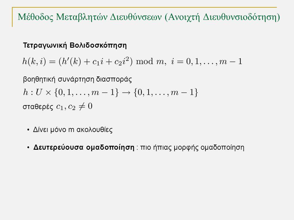 Μέθοδος Μεταβλητών Διευθύνσεων (Ανοιχτή Διευθυνσιοδότηση) Τετραγωνική Βολιδοσκόπηση βοηθητική συνάρτηση διασποράς Δίνει μόνο m ακολουθίες Δευτερεύουσα ομαδοποίηση : πιο ήπιας μορφής ομαδοποίηση σταθερές
