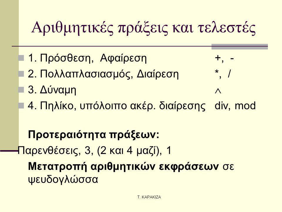 Τ. ΚΑΡΑΚΙΖΑ Αριθμητικές πράξεις και τελεστές 1. Πρόσθεση, Αφαίρεση +, - 2. Πολλαπλασιασμός, Διαίρεση*, / 3. Δύναμη  4. Πηλίκο, υπόλοιπο ακέρ. διαίρεσ