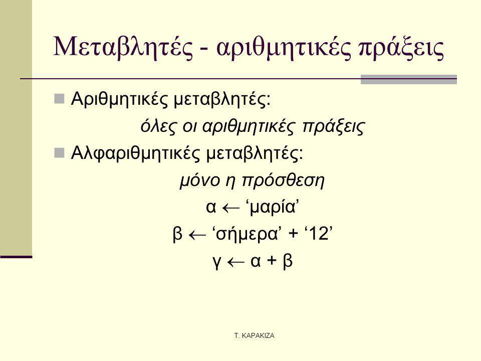 Τ. ΚΑΡΑΚΙΖΑ Μεταβλητές - αριθμητικές πράξεις Αριθμητικές μεταβλητές: όλες οι αριθμητικές πράξεις Αλφαριθμητικές μεταβλητές: μόνο η πρόσθεση α  'μαρία