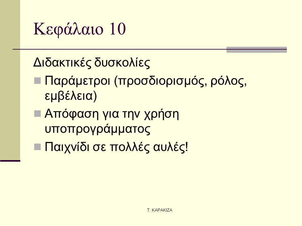Τ. ΚΑΡΑΚΙΖΑ Κεφάλαιο 10 Διδακτικές δυσκολίες Παράμετροι (προσδιορισμός, ρόλος, εμβέλεια) Απόφαση για την χρήση υποπρογράμματος Παιχνίδι σε πολλές αυλέ