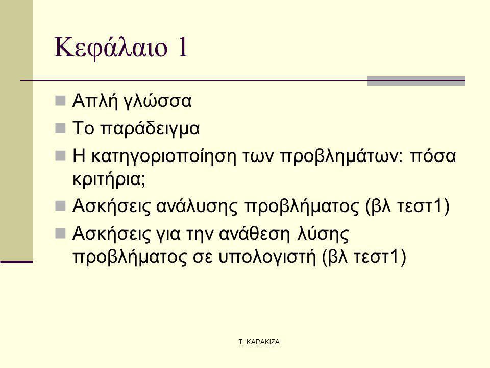 Τ. ΚΑΡΑΚΙΖΑ Κεφάλαιο 1 Απλή γλώσσα Το παράδειγμα Η κατηγοριοποίηση των προβλημάτων: πόσα κριτήρια; Ασκήσεις ανάλυσης προβλήματος (βλ τεστ1) Ασκήσεις γ
