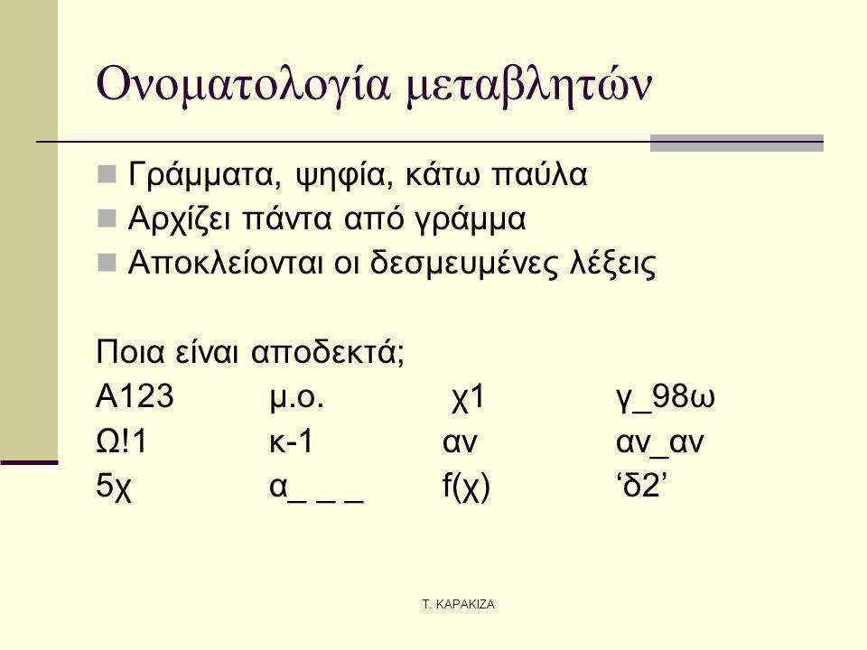 Τ. ΚΑΡΑΚΙΖΑ Ονοματολογία μεταβλητών Γράμματα, ψηφία, κάτω παύλα Αρχίζει πάντα από γράμμα Αποκλείονται οι δεσμευμένες λέξεις Ποια είναι αποδεκτά; Α123