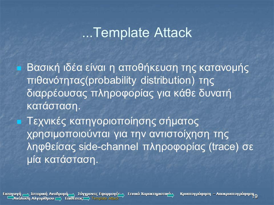 19...Template Attack Βασική ιδέα είναι η αποθήκευση της κατανομής πιθανότητας(probability distribution) της διαρρέουσας πληροφορίας για κάθε δυνατή κατάσταση.