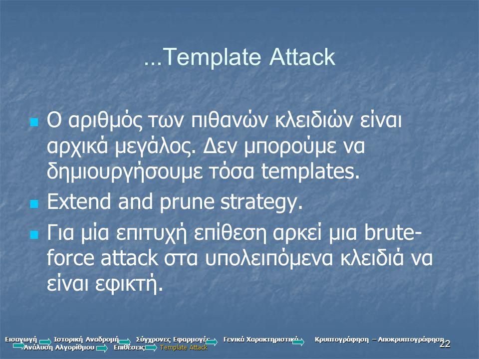 22...Template Attack Ο αριθμός των πιθανών κλειδιών είναι αρχικά μεγάλος.