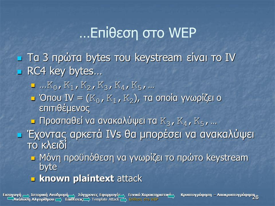 26 …Επίθεση στο WEP Τα 3 πρώτα bytes του keystream είναι το IV Τα 3 πρώτα bytes του keystream είναι το IV RC4 key bytes… RC4 key bytes… … K 0,K 1,K 2,K 3,K 4,K 5,… … K 0,K 1,K 2,K 3,K 4,K 5,… Όπου IV = ( K 0,K 1,K 2 ), τα οποία γνωρίζει ο επιτιθέμενος Όπου IV = ( K 0,K 1,K 2 ), τα οποία γνωρίζει ο επιτιθέμενος Προσπαθεί να ανακαλύψει τα K 3,K 4,K 5,… Προσπαθεί να ανακαλύψει τα K 3,K 4,K 5,… Έχοντας αρκετά IVs θα μπορέσει να ανακαλύψει το κλειδί Έχοντας αρκετά IVs θα μπορέσει να ανακαλύψει το κλειδί Μόνη προϋπόθεση να γνωρίζει το πρώτο keystream byte Μόνη προϋπόθεση να γνωρίζει το πρώτο keystream byte known plaintext attack known plaintext attack Εισαγωγή Ιστορική Αναδρομή Σύγχρονες Εφαρμογές Γενικά Χαρακτηριστικά Κρυπτογράφηση – Αποκρυπτογράφηση Ανάλυση Αλγορίθμου Επιθέσεις Template Attack Επίθεση στο WEP