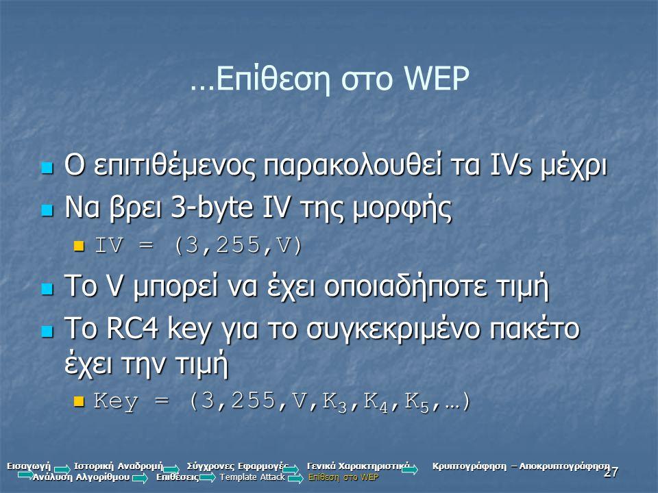 27 …Επίθεση στο WEP Ο επιτιθέμενος παρακολουθεί τα IVs μέχρι Ο επιτιθέμενος παρακολουθεί τα IVs μέχρι Να βρει 3-byte IV της μορφής Να βρει 3-byte IV της μορφής IV = (3,255,V) IV = (3,255,V) Το V μπορεί να έχει οποιαδήποτε τιμή Το V μπορεί να έχει οποιαδήποτε τιμή Το RC4 key για το συγκεκριμένο πακέτο έχει την τιμή Το RC4 key για το συγκεκριμένο πακέτο έχει την τιμή Key = (3,255,V,K 3,K 4,K 5,…) Key = (3,255,V,K 3,K 4,K 5,…) Εισαγωγή Ιστορική Αναδρομή Σύγχρονες Εφαρμογές Γενικά Χαρακτηριστικά Κρυπτογράφηση – Αποκρυπτογράφηση Ανάλυση Αλγορίθμου Επιθέσεις Template Attack Επίθεση στο WEP