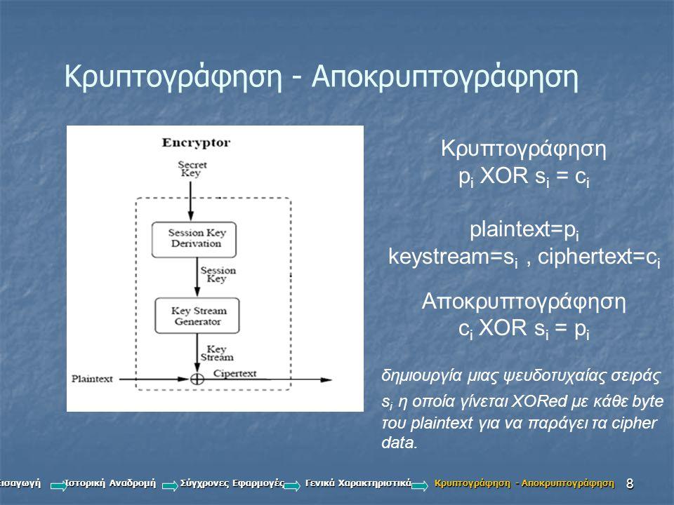 8 Κρυπτογράφηση - Αποκρυπτογράφηση Κρυπτογράφηση p i XOR s i = c i plaintext=p i keystream=s i, ciphertext=c i Αποκρυπτογράφηση c i XOR s i = p i δημιουργία μιας ψευδοτυχαίας σειράς s i η οποία γίνεται XORed με κάθε byte του plaintext για να παράγει τα cipher data.