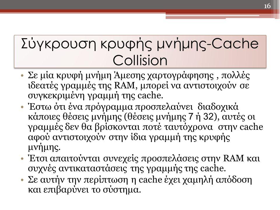 Σε μία κρυφή μνήμη Άμεσης χαρτογράφησης, πολλές ιδεατές γραμμές της RAM, μπορεί να αντιστοιχούν σε συγκεκριμένη γραμμή της cache. Έστω ότι ένα πρόγραμ