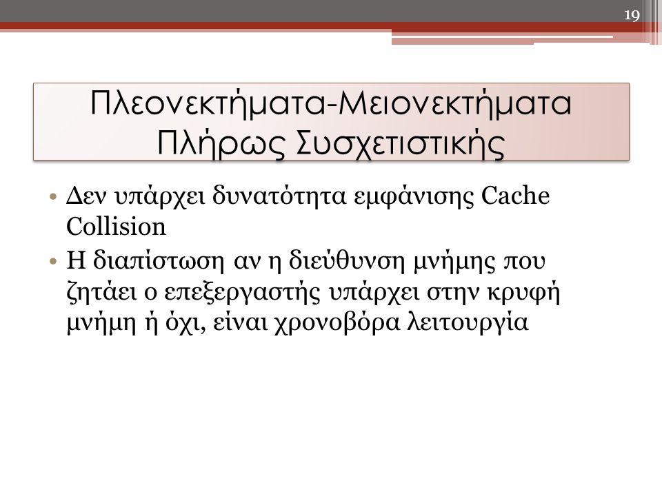 Πλεονεκτήματα-Μειονεκτήματα Πλήρως Συσχετιστικής Δεν υπάρχει δυνατότητα εμφάνισης Cache Collision Η διαπίστωση αν η διεύθυνση μνήμης που ζητάει ο επεξ
