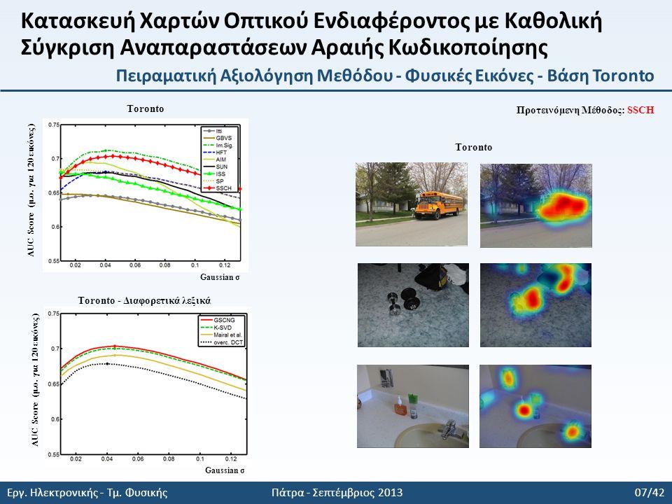 Εργ. Ηλεκτρονικής - Τμ. Φυσικής Πάτρα - Σεπτέμβριος 2013 07/42 AUC Score (μ.ο.