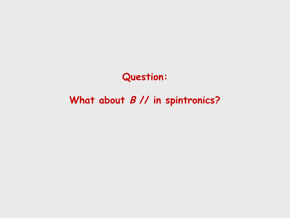 Question: What about Β // in spintronics?