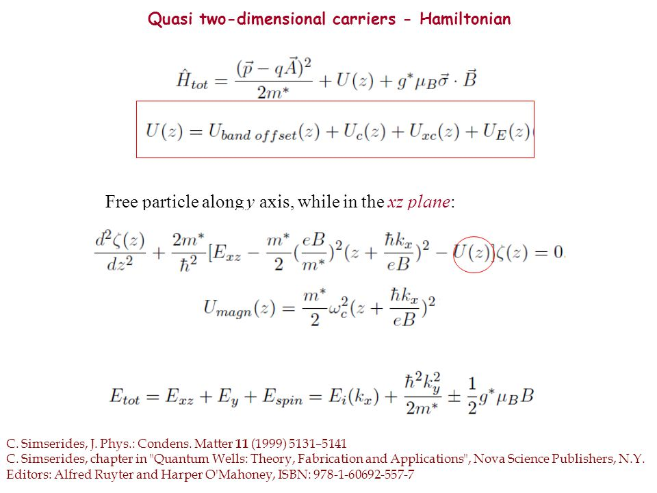 Quasi two-dimensional carriers Force on the electrons - Magnetic length C.