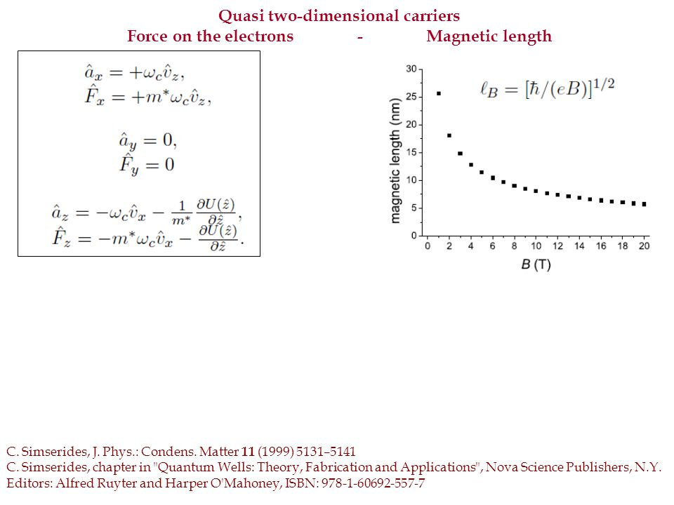 Quasi two-dimensional carriers: density of states (DOS) Limit B → 0 or very narrow QWs E i ( k x ) = E i + ħ 2 k x 2 /(2 m * ) DOS regains its step-like form Limit of a simple saddle point, E i ( k x ) = E i – ħ 2 k x 2 /(2 n * ), ( n * > 0) DOS deviates logarithically -ln|ε-E i |ρ(ε)ρ(ε) DOS deviates from the well-known step-like form C.