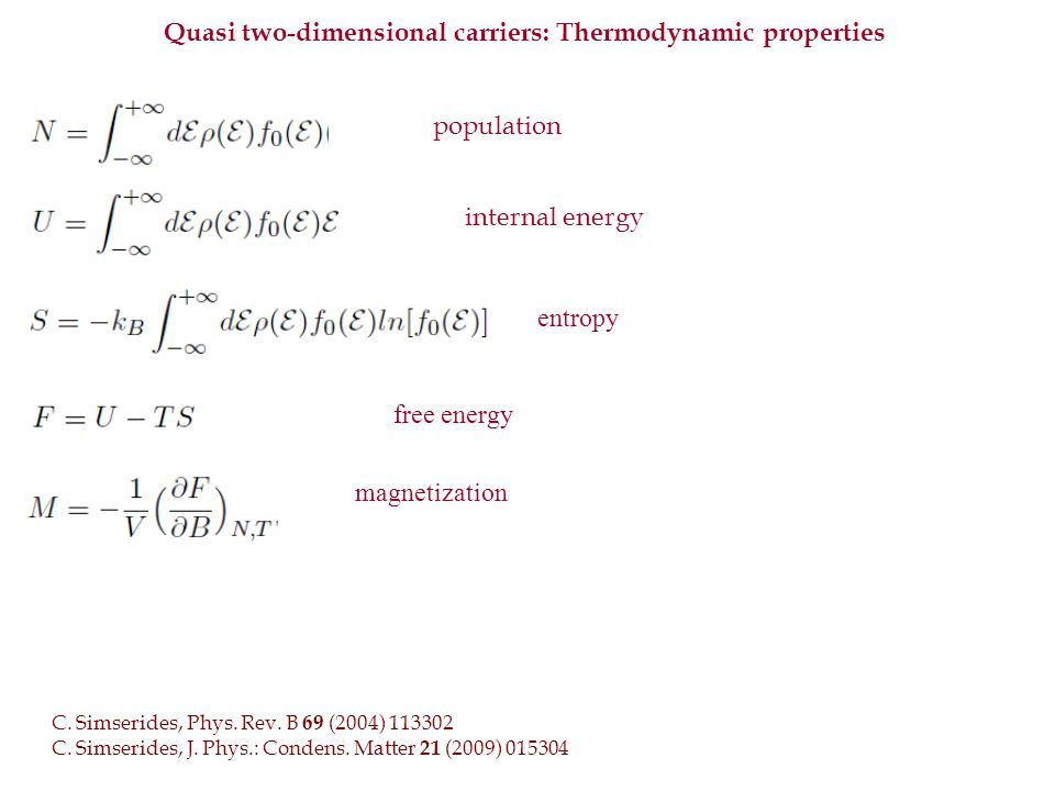 Quasi two-dimensional carriers: Thermodynamic properties population internal energy entropy free energy magnetization C.