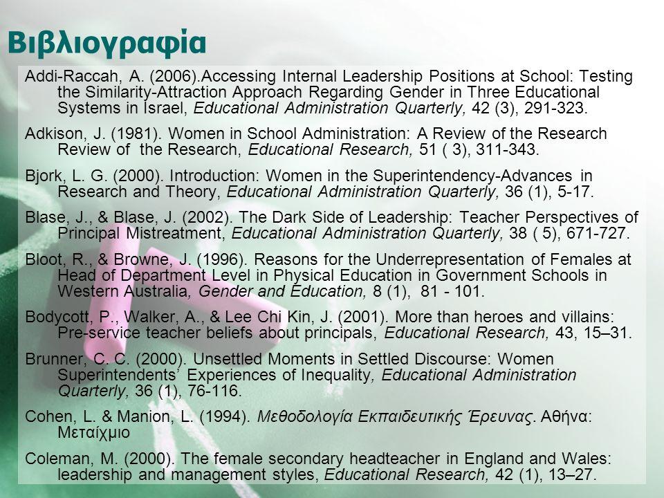 Βιβλιογραφία Addi-Raccah, A. (2006).Accessing Internal Leadership Positions at School: Testing the Similarity-Attraction Approach Regarding Gender in