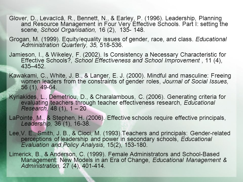 Glover, D., Levacïcâ, R., Bennett, N., & Earley, P. (1996). Leadership, Planning and Resource Management in Four Very Effective Schools. Part I: setti