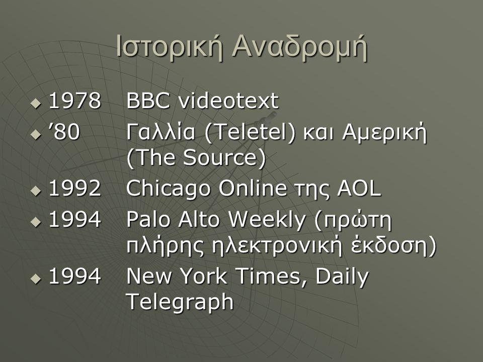 Ιστορική Αναδρομή  1978 ΒΒC videotext  '80 Γαλλία (Teletel) και Αμερική (The Source)  1992Chicago Online της AOL  1994Palo Alto Weekly (πρώτη πλήρ