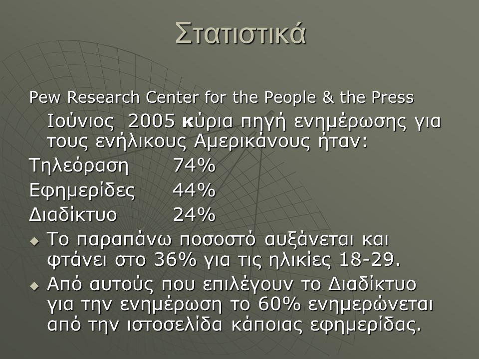 Στατιστικά Pew Research Center for the People & the Press Ιούνιος 2005 κύρια πηγή ενημέρωσης για τους ενήλικους Αμερικάνους ήταν: Τηλεόραση74% Εφημερί