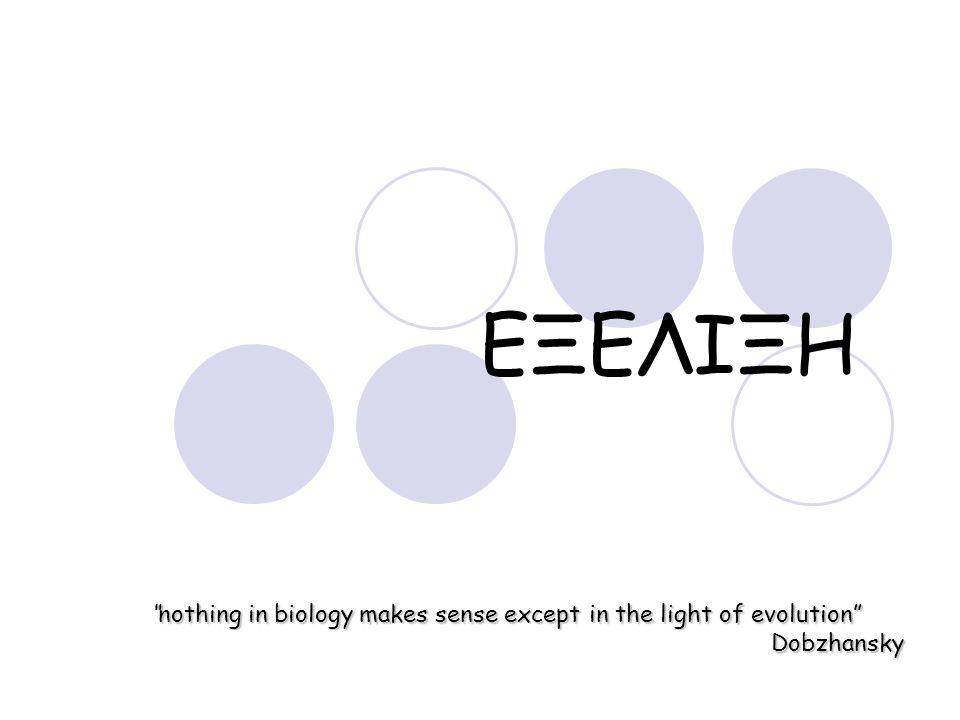 """ΕΞΕΛΙΞΗ """"nothing in biology makes sense except in the light of evolution"""" Dobzhansky"""