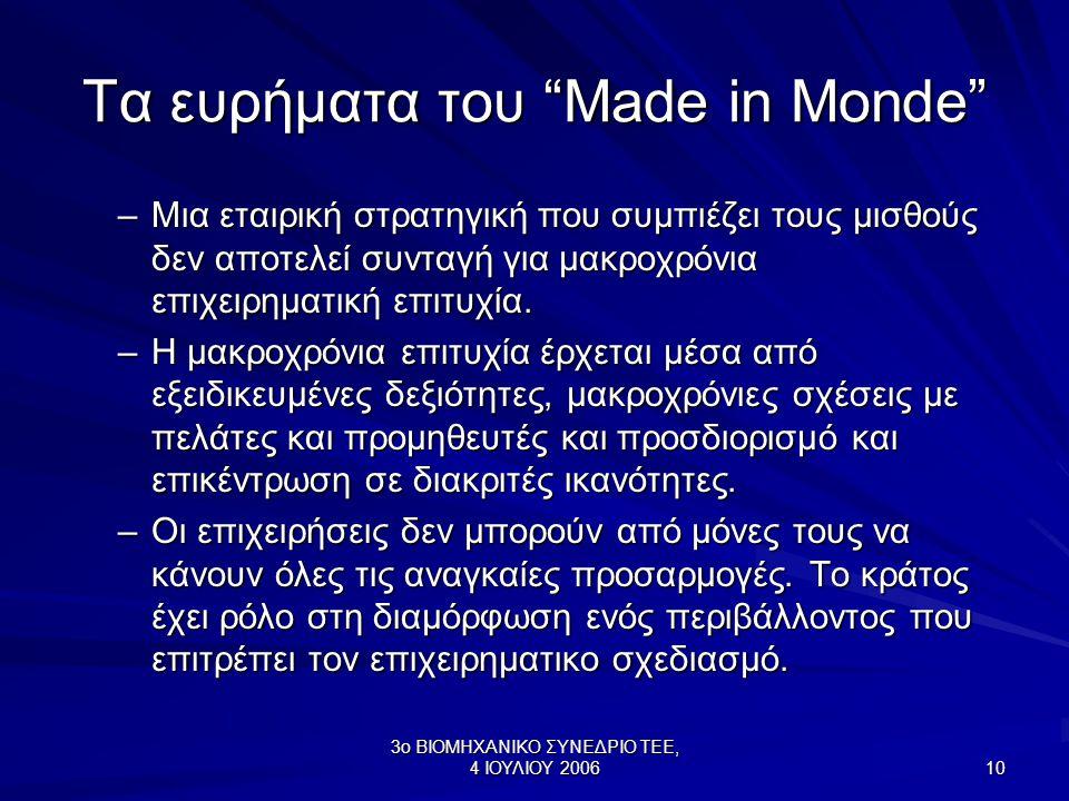 3ο ΒΙΟΜΗΧΑΝΙΚΟ ΣΥΝΕΔΡΙΟ ΤΕΕ, 4 ΙΟΥΛΙΟΥ 2006 10 Τα ευρήματα του Made in Monde –Μια εταιρική στρατηγική που συμπιέζει τους μισθούς δεν αποτελεί συνταγή για μακροχρόνια επιχειρηματική επιτυχία.