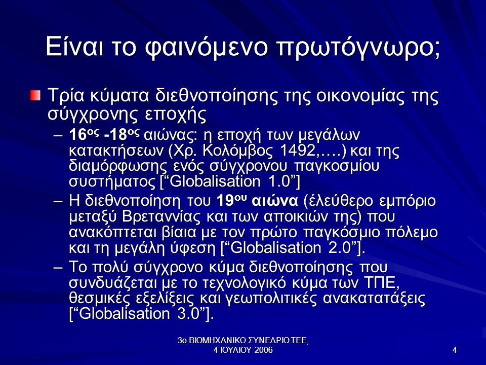 3ο ΒΙΟΜΗΧΑΝΙΚΟ ΣΥΝΕΔΡΙΟ ΤΕΕ, 4 ΙΟΥΛΙΟΥ 2006 4 Είναι το φαινόμενο πρωτόγνωρο; Τρία κύματα διεθνοποίησης της οικονομίας της σύγχρονης εποχής –16 ος -18 ος αιώνας: η εποχή των μεγάλων κατακτήσεων (Χρ.