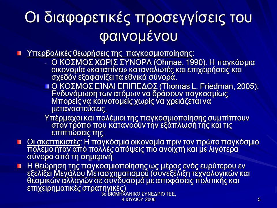 3ο ΒΙΟΜΗΧΑΝΙΚΟ ΣΥΝΕΔΡΙΟ ΤΕΕ, 4 ΙΟΥΛΙΟΥ 2006 5 Οι διαφορετικές προσεγγίσεις του φαινομένου Υπερβολικές θεωρήσεις της παγκοσμιοποίησης: - Ο ΚΟΣΜΟΣ ΧΩΡΙΣ ΣΥΝΟΡΑ (Ohmae, 1990): Η παγκόσμια οικονομία «καταπίνει» καταναλωτές και επιχειρήσεις και σχεδόν εξαφανίζει τα εθνικά σύνορα.