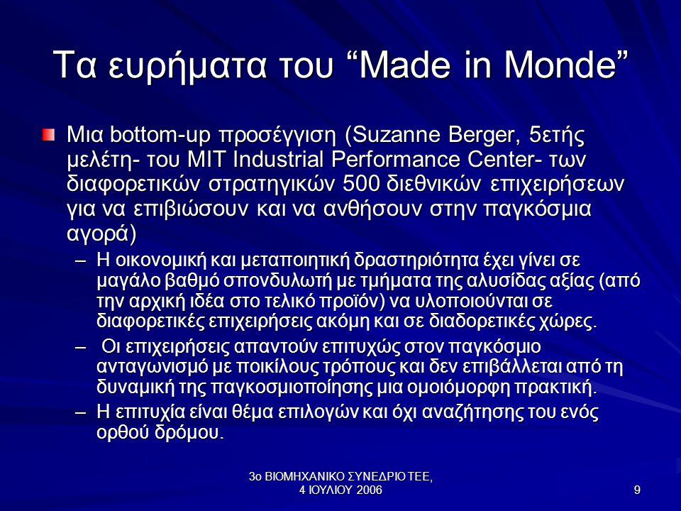 3ο ΒΙΟΜΗΧΑΝΙΚΟ ΣΥΝΕΔΡΙΟ ΤΕΕ, 4 ΙΟΥΛΙΟΥ 2006 9 Τα ευρήματα του Made in Monde Μια bottom-up προσέγγιση (Suzanne Berger, 5ετής μελέτη- του MIT Industrial Performance Center- των διαφορετικών στρατηγικών 500 διεθνικών επιχειρήσεων για να επιβιώσουν και να ανθήσουν στην παγκόσμια αγορά) –Η οικονομική και μεταποιητική δραστηριότητα έχει γίνει σε μαγάλο βαθμό σπονδυλωτή με τμήματα της αλυσίδας αξίας (από την αρχική ιδέα στο τελικό προϊόν) να υλοποιούνται σε διαφορετικές επιχειρήσεις ακόμη και σε διαδορετικές χώρες.