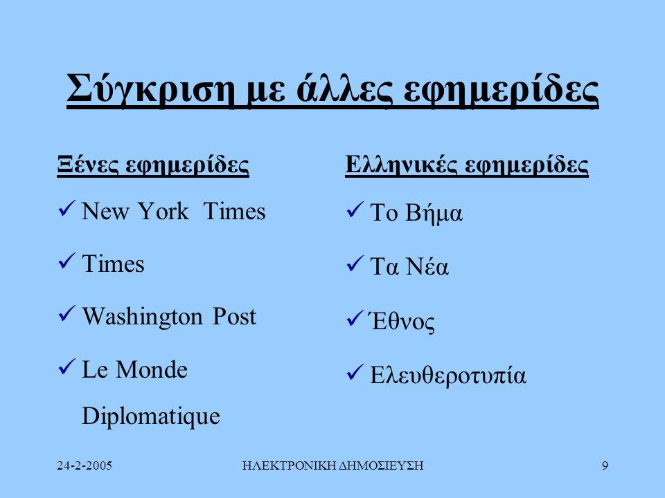 24-2-2005ΗΛΕΚΤΡΟΝΙΚΗ ΔΗΜΟΣΙΕΥΣΗ9 Σύγκριση με άλλες εφημερίδες Ξένες εφημερίδες New York Times Times Washington Post Le Monde Diplomatique Ελληνικές εφ