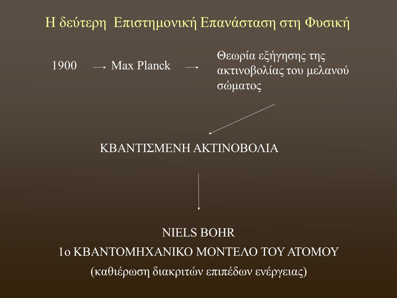 Η δεύτερη Επιστημονική Επανάσταση στη Φυσική 1900Max Planck Θεωρία εξήγησης της ακτινοβολίας του μελανού σώματος ΚΒΑΝΤΙΣΜΕΝΗ ΑΚΤΙΝΟΒΟΛΙΑ NIELS BOHR 1o ΚΒΑΝΤΟΜΗΧΑΝΙΚΟ ΜΟΝΤΕΛΟ ΤΟΥ ΑΤΟΜΟΥ (καθιέρωση διακριτών επιπέδων ενέργειας)