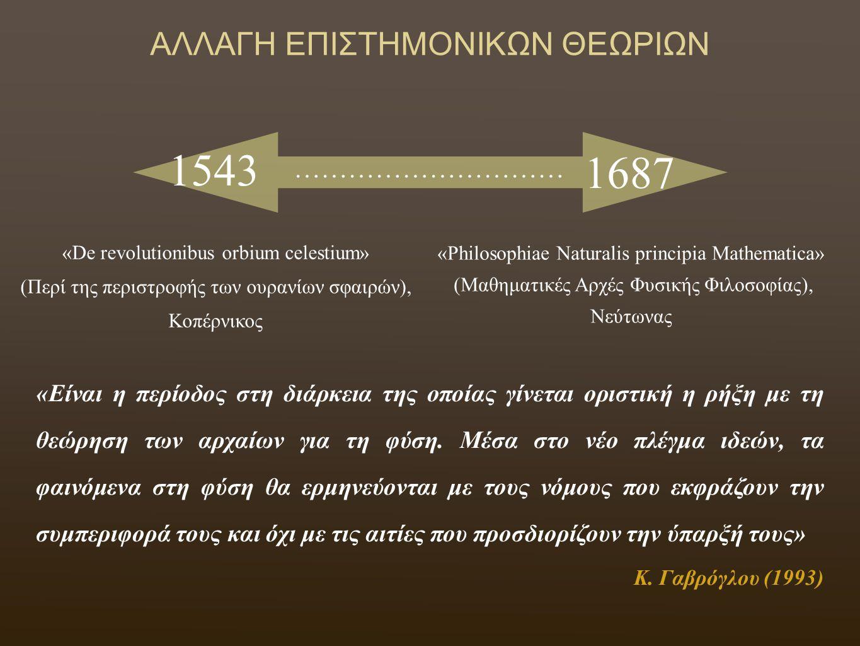«De revolutionibus orbium celestium» (Περί της περιστροφής των ουρανίων σφαιρών), Κοπέρνικος «Philosophiae Naturalis principia Mathematica» (Μαθηματικές Αρχές Φυσικής Φιλοσοφίας), Νεύτωνας ΑΛΛΑΓΗ ΕΠΙΣΤΗΜΟΝΙΚΩΝ ΘΕΩΡΙΩΝ 1543 1687 ………………………… «Είναι η περίοδος στη διάρκεια της οποίας γίνεται οριστική η ρήξη με τη θεώρηση των αρχαίων για τη φύση.
