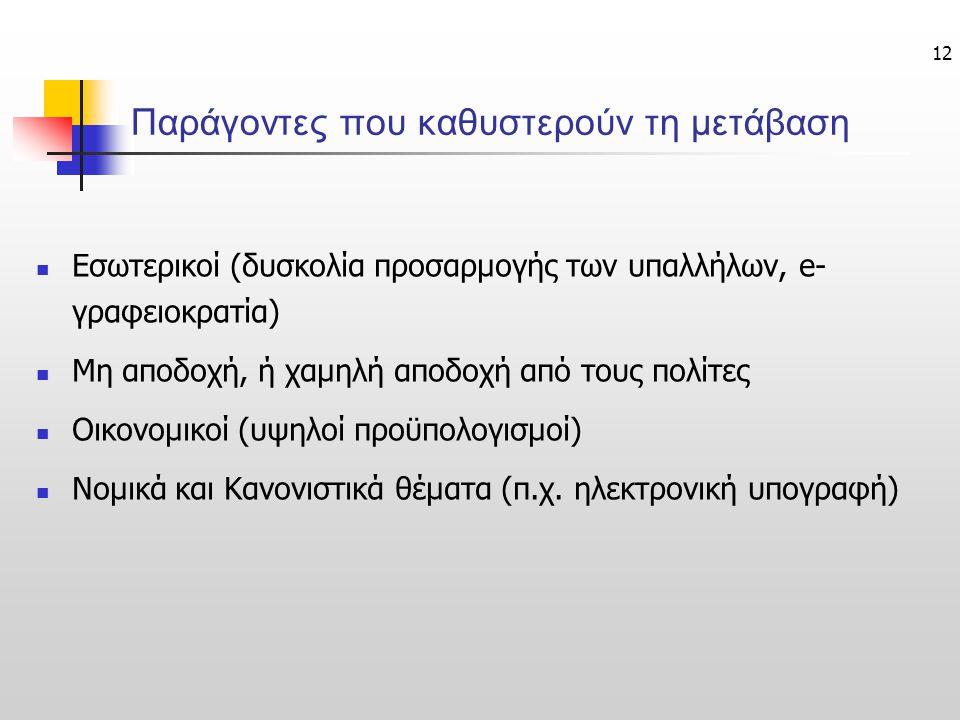 12 Παράγοντες που καθυστερούν τη μετάβαση Εσωτερικοί (δυσκολία προσαρμογής των υπαλλήλων, e- γραφειοκρατία) Μη αποδοχή, ή χαμηλή αποδοχή από τους πολί