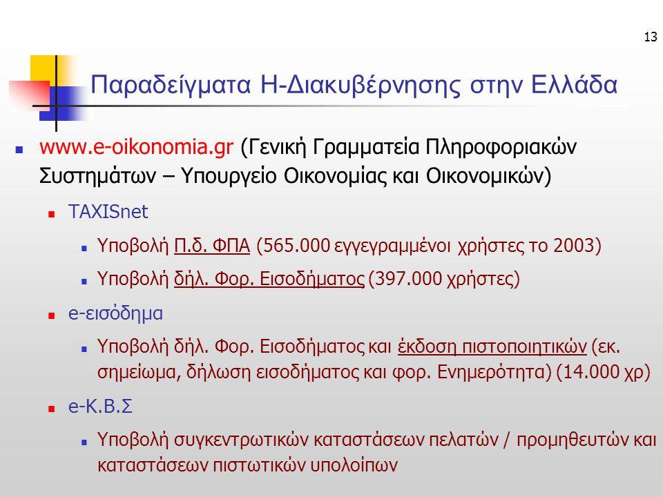 13 Παραδείγματα Η-Διακυβέρνησης στην Ελλάδα www.e-oikonomia.gr (Γενική Γραμματεία Πληροφοριακών Συστημάτων – Υπουργείο Οικονομίας και Οικονομικών) TAX
