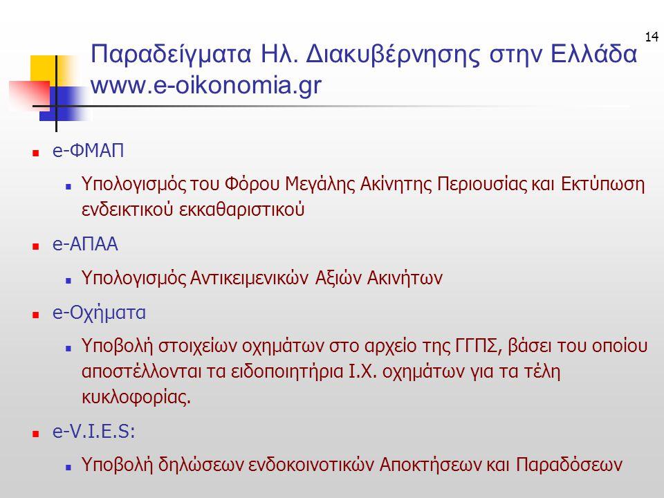 14 Παραδείγματα Ηλ. Διακυβέρνησης στην Ελλάδα www.e-oikonomia.gr e-ΦΜΑΠ Υπολογισμός του Φόρου Μεγάλης Ακίνητης Περιουσίας και Εκτύπωση ενδεικτικού εκκ