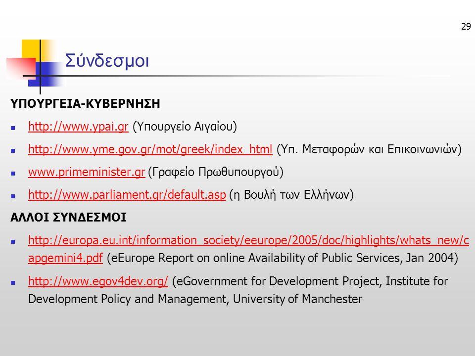 29 Σύνδεσμοι ΥΠΟΥΡΓΕΙΑ-ΚΥΒΕΡΝΗΣΗ http://www.ypai.gr (Υπουργείο Αιγαίου) http://www.ypai.gr http://www.yme.gov.gr/mot/greek/index_html (Υπ. Μεταφορών κ