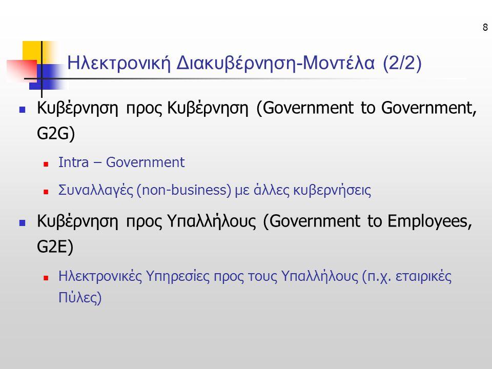 8 Ηλεκτρονική Διακυβέρνηση-Μοντέλα (2/2) Κυβέρνηση προς Κυβέρνηση (Government to Government, G2G) Intra – Government Συναλλαγές (non-business) με άλλε