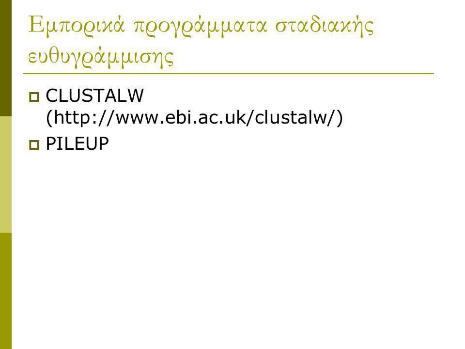 Εμπορικά προγράμματα σταδιακής ευθυγράμμισης  CLUSTALW (http://www.ebi.ac.uk/clustalw/)  PILEUP