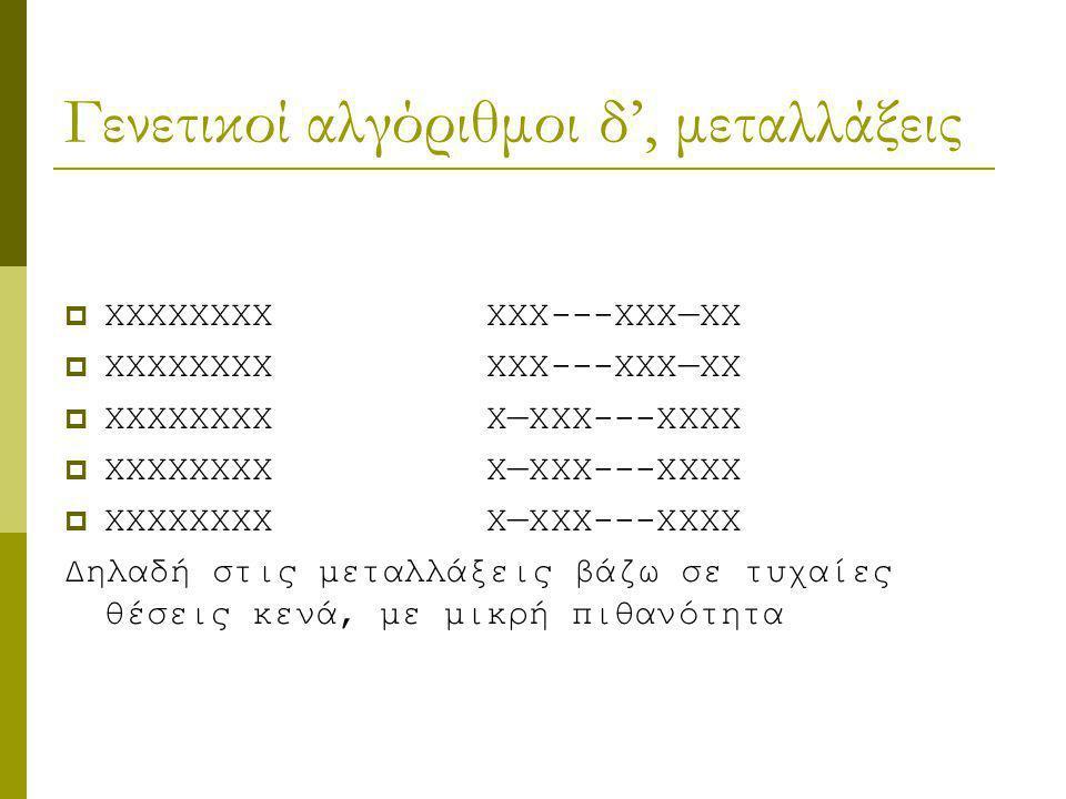 Γενετικοί αλγόριθμοι δ', μεταλλάξεις  XXXXXXXX XXX---XXX—XX  XXXXXXXX X—XXX---XXXX Δηλαδή στις μεταλλάξεις βάζω σε τυχαίες θέσεις κενά, με μικρή πιθ