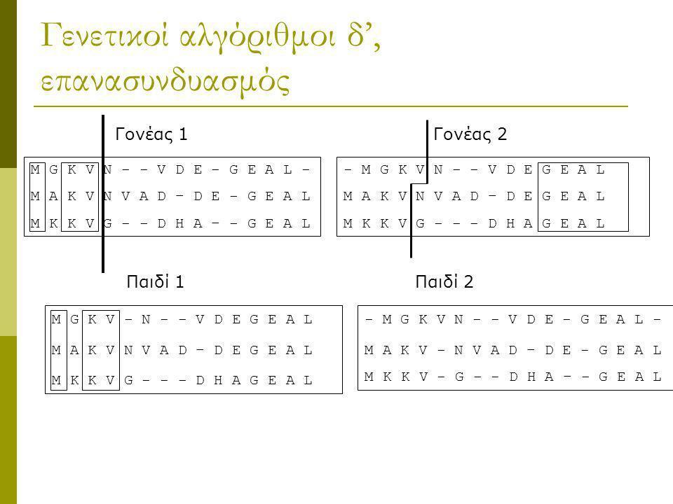 Γενετικοί αλγόριθμοι δ', επανασυνδυασμός M G K V N - - V D E - G E A L - Μ Α Κ V Ν V A D – D E - G E A L M K K V G - - D H A – - G E A L - M G K V N -