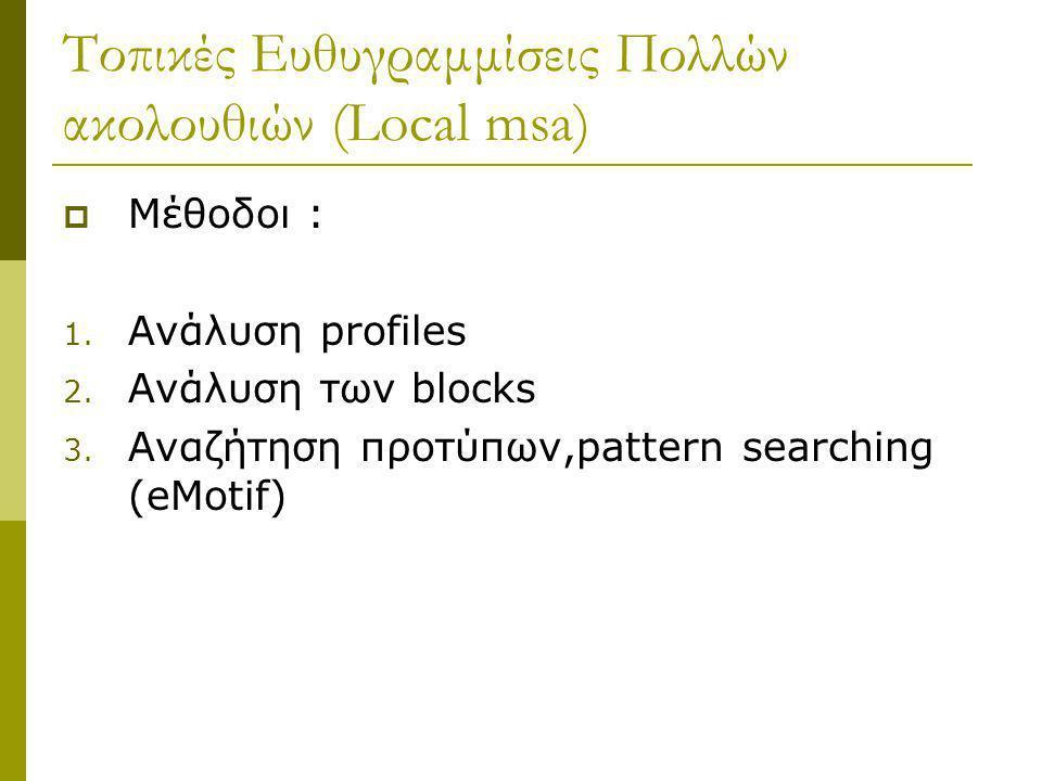 Τοπικές Ευθυγραμμίσεις Πολλών ακολουθιών (Local msa)  Μέθοδοι : 1. Ανάλυση profiles 2. Ανάλυση των blocks 3. Αναζήτηση προτύπων,pattern searching (eM