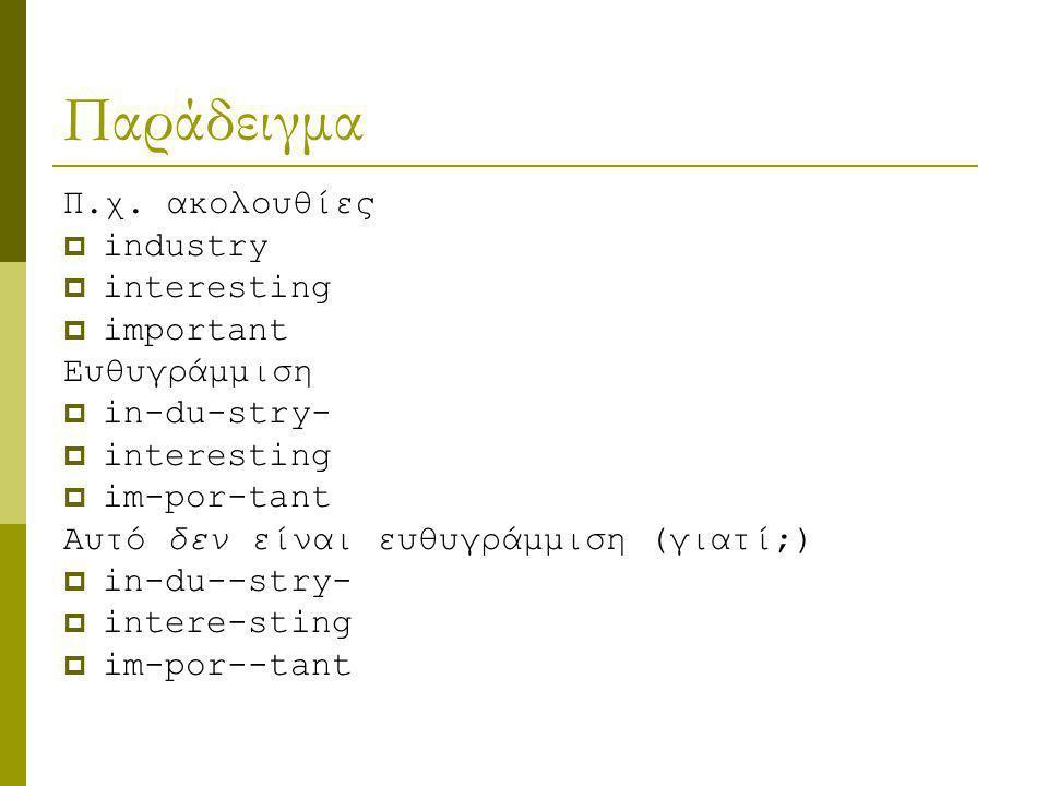 Παράδειγμα Π.χ. ακολουθίες  industry  interesting  important Ευθυγράμμιση  in-du-stry-  interesting  im-por-tant Αυτό δεν είναι ευθυγράμμιση (γι