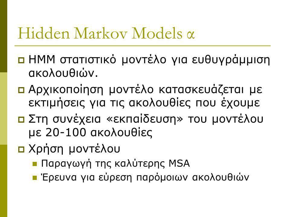 Hidden Markov Models α  HMM στατιστικό μοντέλο για ευθυγράμμιση ακολουθιών.  Αρχικοποίηση μοντέλο κατασκευάζεται με εκτιμήσεις για τις ακολουθίες πο