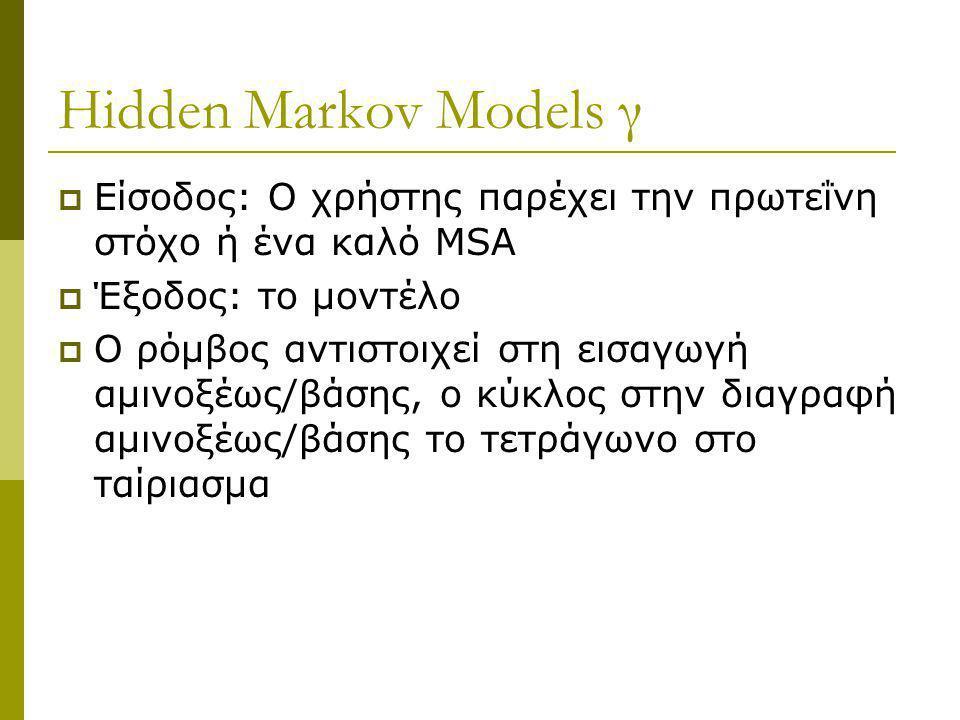 Hidden Markov Models γ  Είσοδος: Ο χρήστης παρέχει την πρωτεΐνη στόχο ή ένα καλό MSA  Έξοδος: το μοντέλο  O ρόμβος αντιστοιχεί στη εισαγωγή αμινοξέ