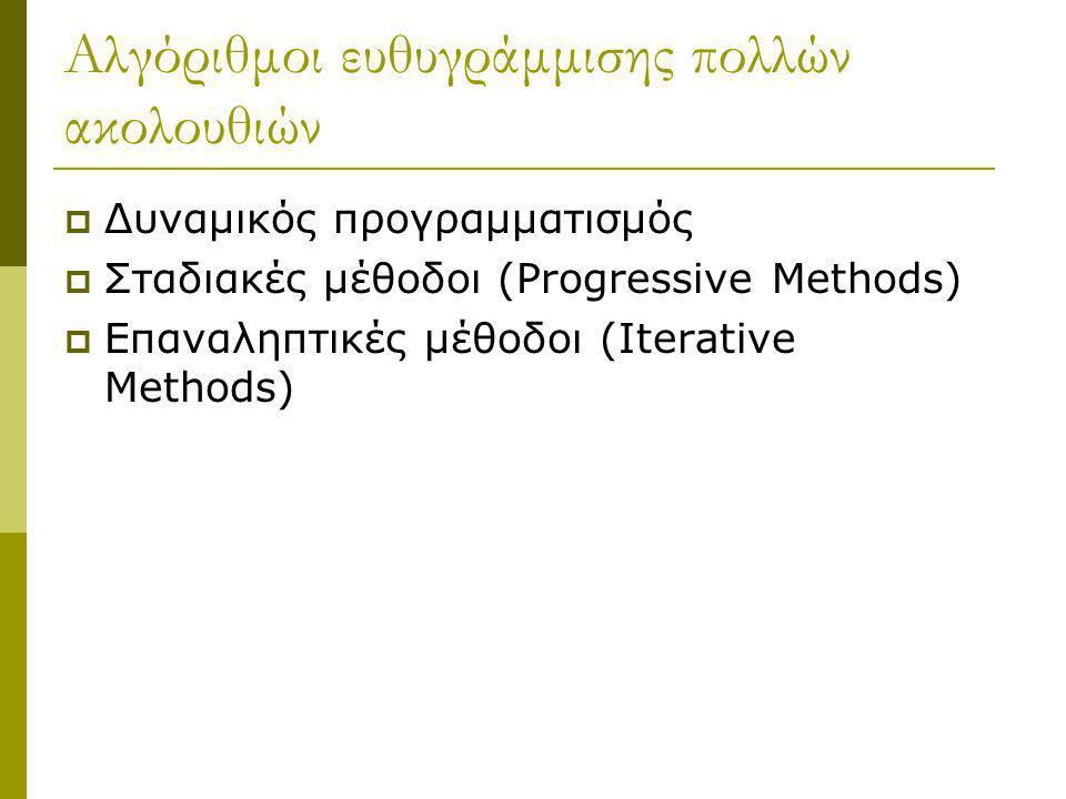 Αλγόριθμοι ευθυγράμμισης πολλών ακολουθιών  Δυναμικός προγραμματισμός  Σταδιακές μέθοδοι (Progressive Methods)  Επαναληπτικές μέθοδοι (Iterative Me