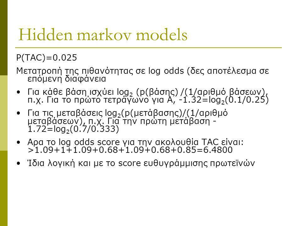 Ηidden markov models P(TAC)=0.025 Μετατροπή της πιθανότητας σε log odds (δες αποτέλεσμα σε επόμενη διαφάνεια Για κάθε βάση ισχύει log 2 (p(βάσης) /(1/