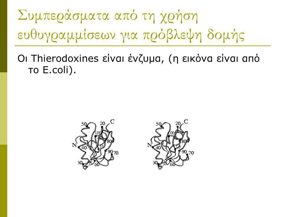 Συμπεράσματα από τη χρήση ευθυγραμμίσεων για πρόβλεψη δομής Οι Thierodoxines είναι ένζυμα, (η εικόνα είναι από το E.coli).