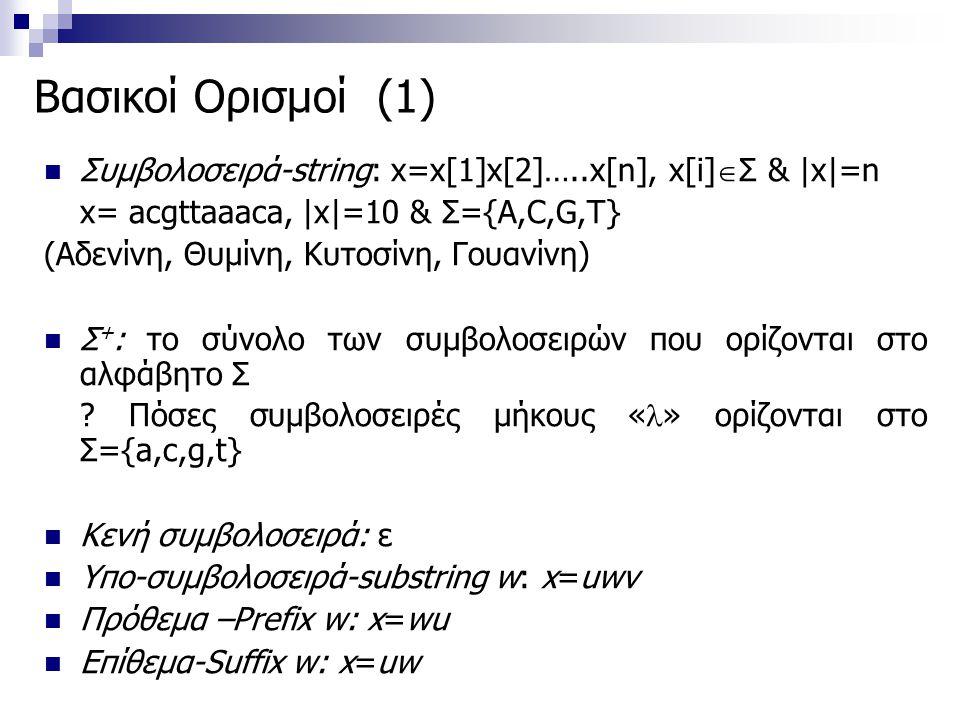 Βασικοί Ορισμοί (1) Συμβολοσειρά-string: x=x[1]x[2]…..x[n], x[i]  Σ & |x|=n x= acgttaaaca, |x|=10 & Σ={Α,C,G,T} (Αδενίνη, Θυμίνη, Κυτοσίνη, Γουανίνη)