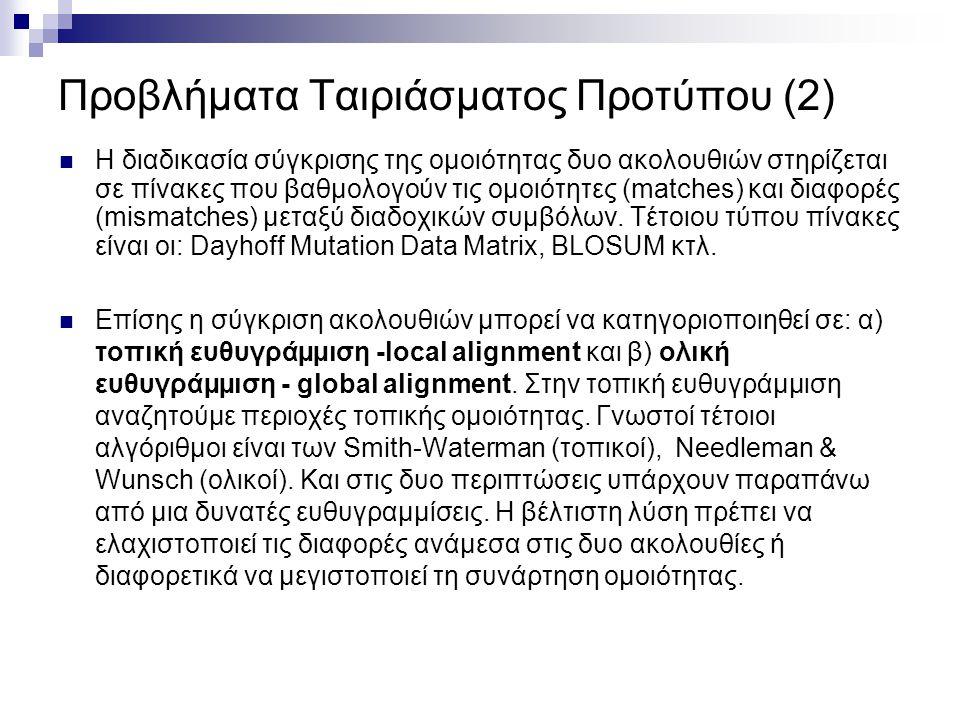 Προβλήματα Ταιριάσματος Προτύπου (2) Η διαδικασία σύγκρισης της οµοιότητας δυο ακολουθιών στηρίζεται σε πίνακες που βαθµολογούν τις οµοιότητες (matche