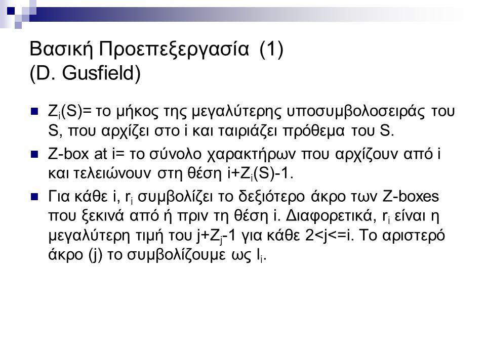 Βασική Προεπεξεργασία (1) (D. Gusfield) Ζ i (S)= το μήκος της μεγαλύτερης υποσυμβολοσειράς του S, που αρχίζει στο i και ταιριάζει πρόθεμα του S. Z-box